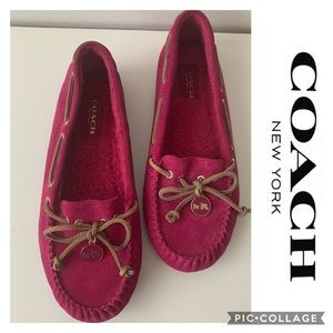 Coach Moccasin Pink slipper shoes Loafers Driving